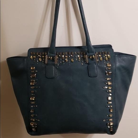Handbags - Beautiful Bejeweled Dark Turquoise Tote Handbag